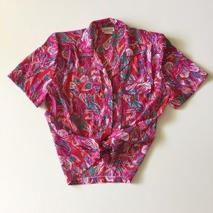 Vintage 80s Pink & Red Short Sleeve Blouse Top M